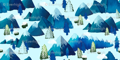Winter Watercolor Mountains