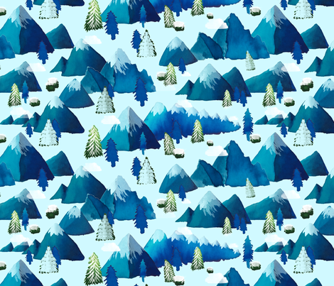 Winter Watercolor Mountains fabric by everhigh on Spoonflower - custom fabric