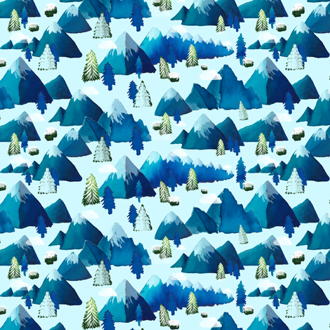 Winter Watercolor Mountains small scale fabric by everhigh on Spoonflower - custom fabric