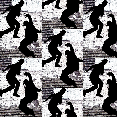 black white and grey hip hop dancers fabric by lbehrendtdesigns on Spoonflower - custom fabric