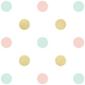 Polka Spots in Gold Blush and Aqua