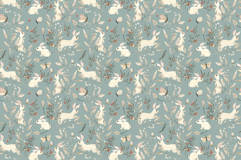Bunnies blue fabric by katherine_quinn on Spoonflower - custom fabric