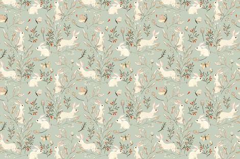 Bunnies dusky green fabric by katherine_quinn on Spoonflower - custom fabric