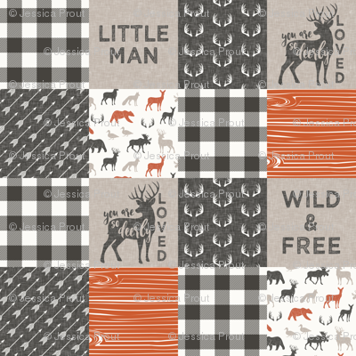 Little Man/Wild & Free with plaid - woodland patchwork - C1