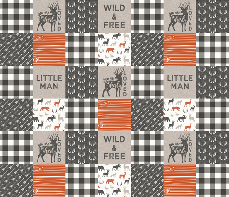 Little Man/Wild & Free with plaid - woodland patchwork - C1 fabric by littlearrowdesign on Spoonflower - custom fabric