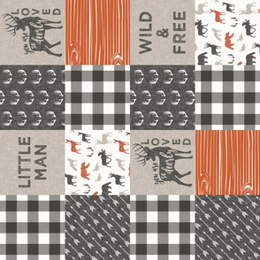 Little Man/Wild & Free with plaid - woodland patchwork - C1 (90)