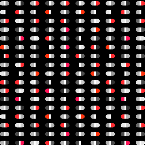 Capsules | Reds assorted on black fabric by shiere on Spoonflower - custom fabric