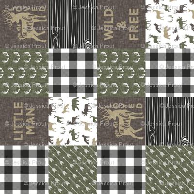 Little Man/Wild & Free - Woodland patchwork - C2 Plaid (90)