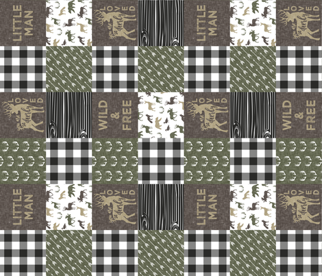 Little Man/Wild & Free - Woodland patchwork - C2 Plaid (90) fabric by littlearrowdesign on Spoonflower - custom fabric