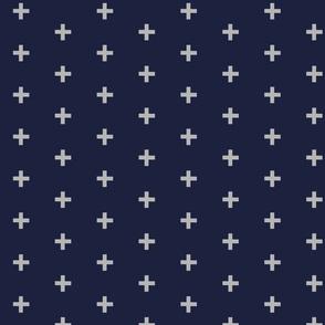 Swiss cross - grey on navy