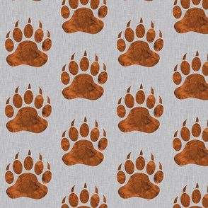 """5"""" Watercolor Bear Paws - Rust on Grey Linen"""