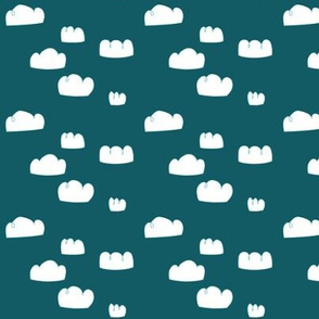 clouds mini teal blue