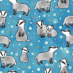 Badgers on blue