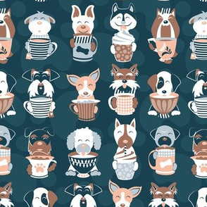 Doggie Coffee and Tea Time 1 // dark blue grey background
