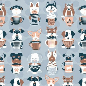 Doggie Coffee and Tea Time 2 // light blue grey background