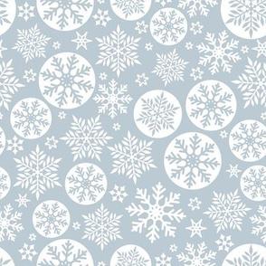 Magical snowflakes 8 // light blue grey background white snowflakes