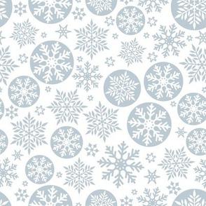 Magical snowflakes 9 // white background light blue grey snowflakes