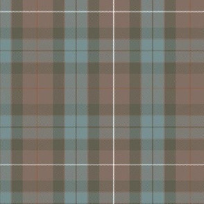 greyed Fraser hunting weathered tartan, rusty red
