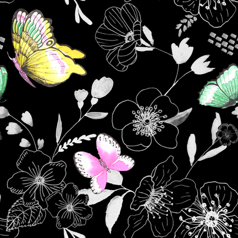 Butterfly Rhapsody in Black fabric by michellegracedesign on Spoonflower - custom fabric