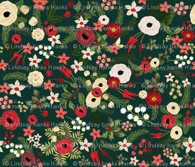 Vintage Christmas Floral Hunter Green