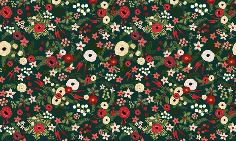 Vintage Christmas Floral Hunter Green fabric by twodreamsshop on Spoonflower - custom fabric