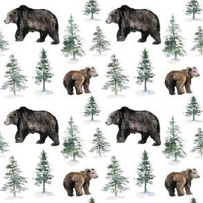 """4"""" Camping Bear and Trees // White"""