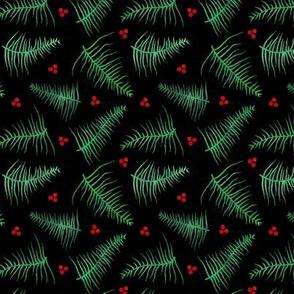 Botanical Print on Black