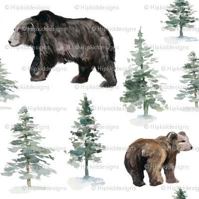 "8"" Camping Bear and Trees"
