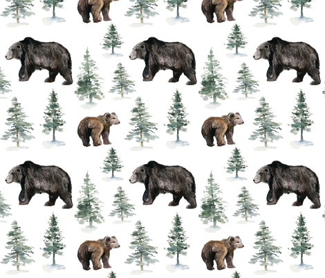 """8"""" Camping Bear and Trees fabric by hipkiddesigns on Spoonflower - custom fabric"""