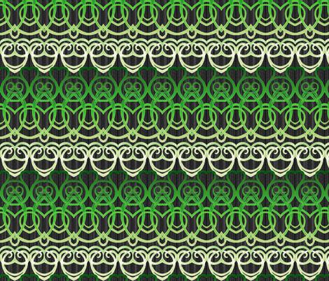Macrame' Dream - Green on Black fabric by engravogirl on Spoonflower - custom fabric