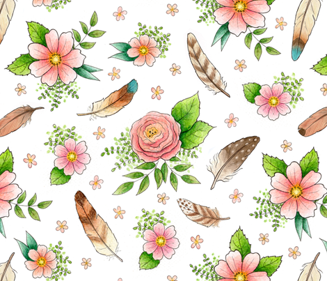 Feathers and Flowers - larger scale fabric by hazelfishercreations on Spoonflower - custom fabric