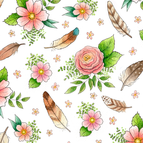 Feathers and Flowers - smaller scale fabric by hazelfishercreations on Spoonflower - custom fabric