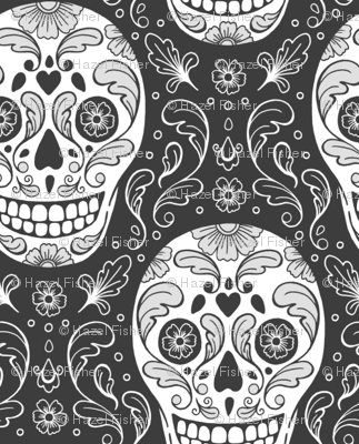 Calavera Sugar Skulls dark grey