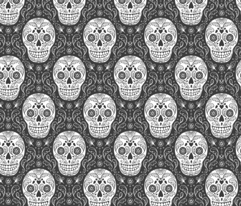 Calavera Sugar Skulls dark grey fabric by hazel_fisher_creations on Spoonflower - custom fabric