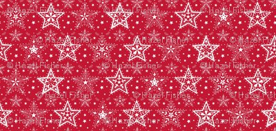 Patterned Christmas Stars red & white - smaller scale