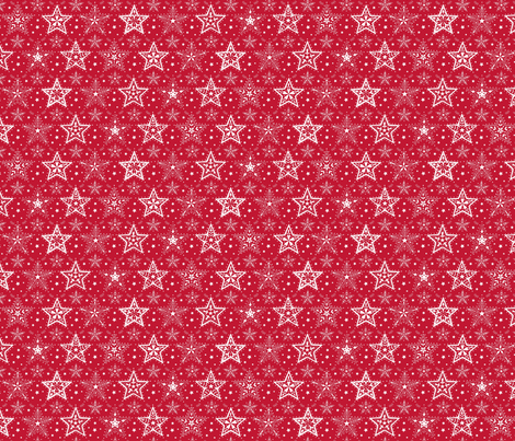 Patterned Christmas Stars red & white - smaller scale fabric by hazel_fisher_creations on Spoonflower - custom fabric