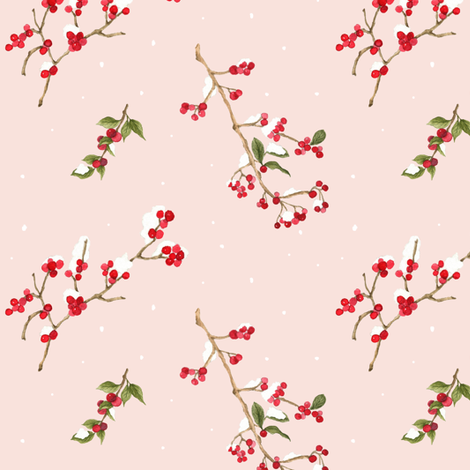 Winter Berry Pink fabric by mintpeony on Spoonflower - custom fabric