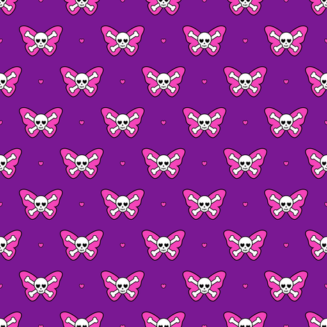 Cute Butterfly Skulls fabric by elladorine on Spoonflower - custom fabric