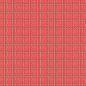squiggle plaid 2 - melon red