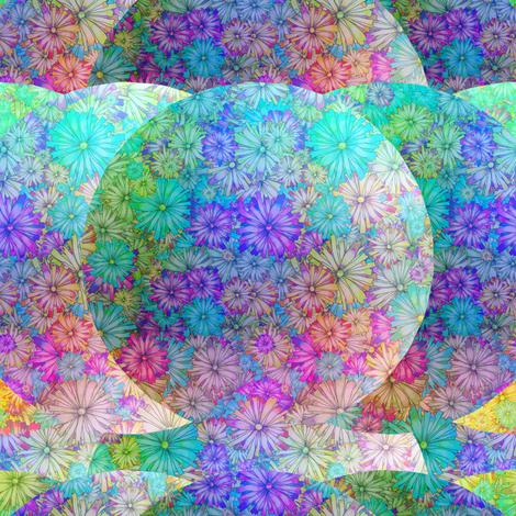 BLOSSOMS SEASON AQUA BLUE IMAGINARY PLANET fabric by paysmage on Spoonflower - custom fabric