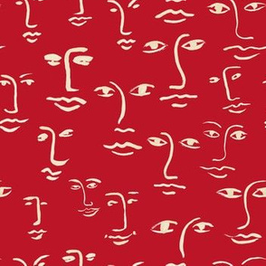 faces 2  in cream on red