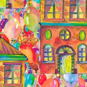 LARGE THE RAINBOW BRIGHT HOUSE ON BALLOONS PSMGE