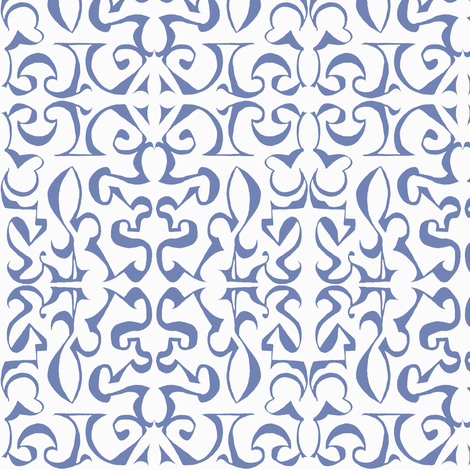 ARABESQUE Soft French Blue on White fabric by shi_designs on Spoonflower - custom fabric
