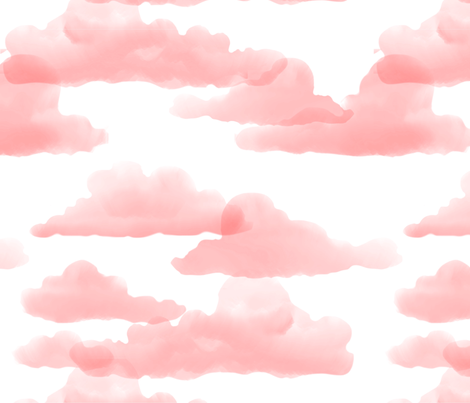 Translucent Clouds - Warm Pink Watercolor  fabric by sugarpinedesign on Spoonflower - custom fabric