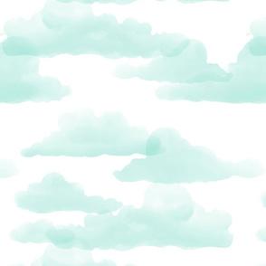 Translucent Clouds - mint watercolor