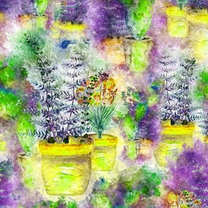 WATERCOLOR DREAMY GARDEN YELLOW VIOLET LIME FERN FLOWERS CACTUS