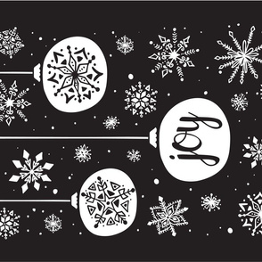 Joy Ornament Christmas Tea Towel - Black