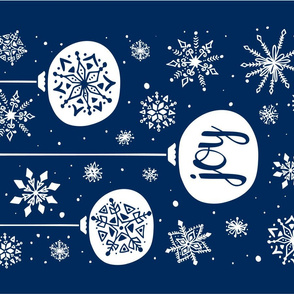 Joy Ornament Christmas Tea Towel - Navy Blue