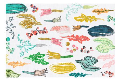 vegetales tea towel  fabric by nouveau_bohemian on Spoonflower - custom fabric