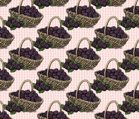 Blackberry Basket - Light Pink - Large Scale fabric by aspenartsstudio on Spoonflower - custom fabric